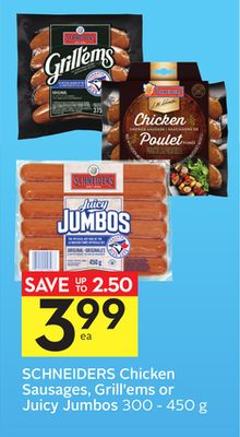 Schneiders Chicken Sausages - Grill'ems Or Juicy Jumbos