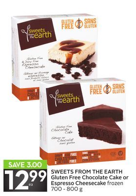 Sweets From The Earth Gluten Free Chocolate Cake or Espresso Cheesecake