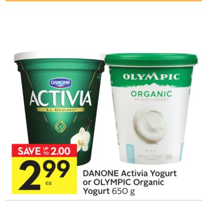 Danone Activia Yogurt or Olympic Organic Yogurt