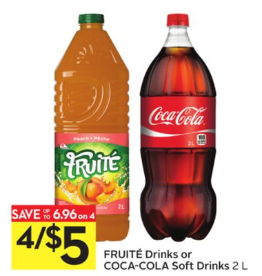 Fruité Drinks or Coca-cola Soft Drinks 2 L