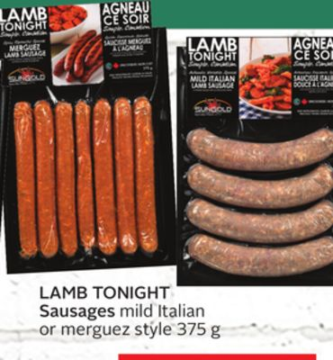 Lamb Tonight Sausages or Merguez Style 375 g