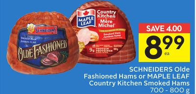 Schneiders Olde Fashioned Hams or Maple Leaf Country Kitchen Smoked Hams