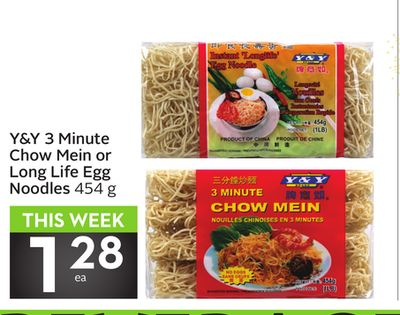 Y&y 3 Minute Chow Mein or Long Life Egg Noodles