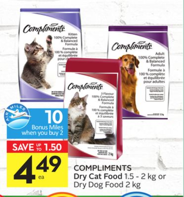 Compliments Dry Cat Food 1.5 - 2 Kg or Dry Dog Food 2 Kg