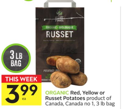 Organic Red - Yellow or Russet Potatoes