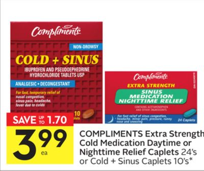 Compliments Extra Strength Cold Medication Daytime or Nighttime Relief Caplets