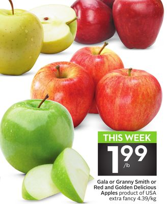 Gala or Granny Smith or Red and Golden Delicious Apples