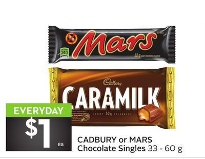 Cadbury or Mars Chocolate Singles