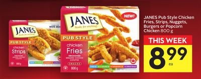 Janes Pub Style Chicken Fries - Strips - Nuggets - Burgers Or Popcorn Chicken