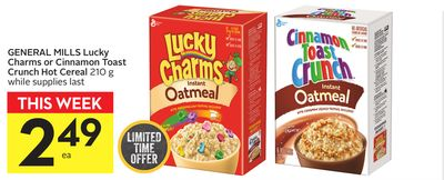 General Mills Lucky Charms Or Cinnamon Toast Crunch Hot Cereal