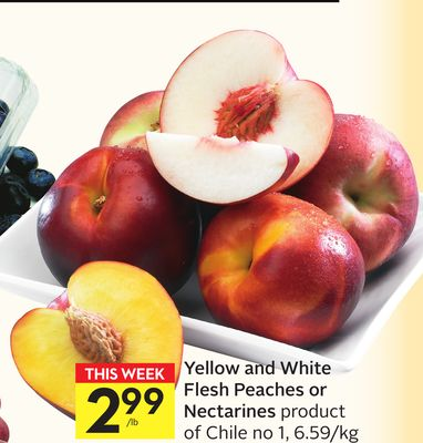 Yellow and White Flesh Peaches or Nectarines
