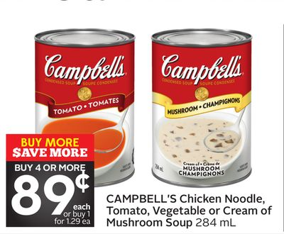 Campbell's Chicken Noodle - Tomato - Vegetable or Cream of Mushroom Soup