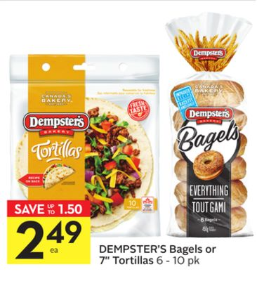 Dempster's Bagels or 7'' Tortillas