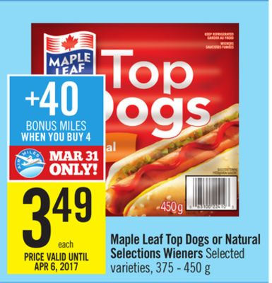 Maple Leaf Hot Dogs Natural