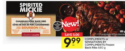 Compliments or Sensations By Compliments Frozen Back Ribs