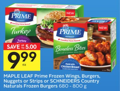Maple Leaf Prime Frozen Wings - Burgers - Nuggets or Strips or Schneiders Country Naturals Frozen Burgers - 75 Air Miles