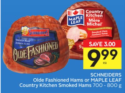 Schneiders Olde Fashioned Hams or Maple Leaf Country Kitchen Smoked Hams - 75 Air Miles