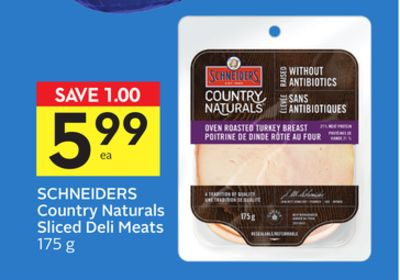 Schneiders Country Naturals Sliced Deli Meats - 75 Air Miles