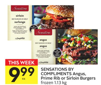 Sensations By Compliments Angus - Prime Rib or Sirloin Burgers