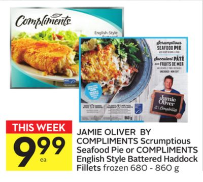 Jamie Oliver By Compliments Scrumptious Seafood Pie or Compliments English Style Battered Haddock Fillets
