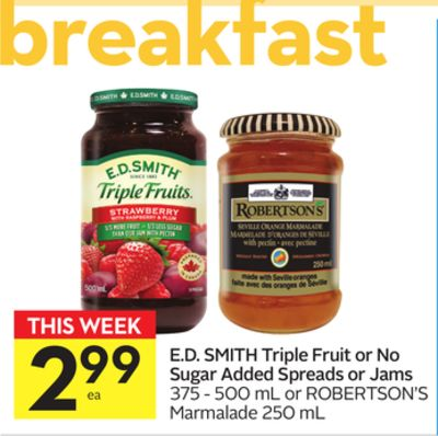 E.d. Smith Triple Fruit or No Sugar Added Spreads or Jams
