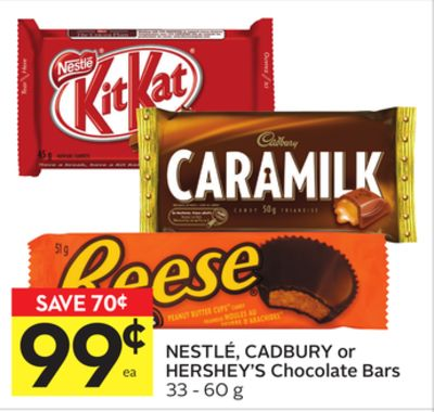 Nestlé - Cadbury or Hershey's Chocolate Bars