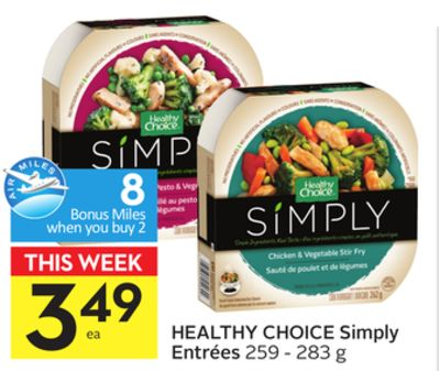 Healthy Choice Simply Entrées - 8 Air Miles Bonus Miles