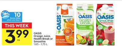 Oasis Orange Juice - Health Break or Smoothie - 10 Air Miles Bonus Miles