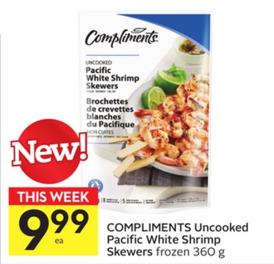 Compliments Uncooked Pacific White Shrimp Skewers