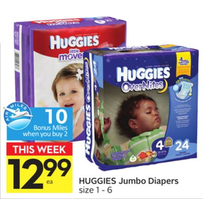 Huggies Jumbo Diapers - 10 Air Miles Bonus Miles
