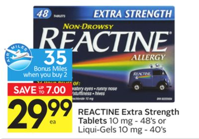 Reactine Extra Strength Tablets - 35 Air Miles Bonus Miles