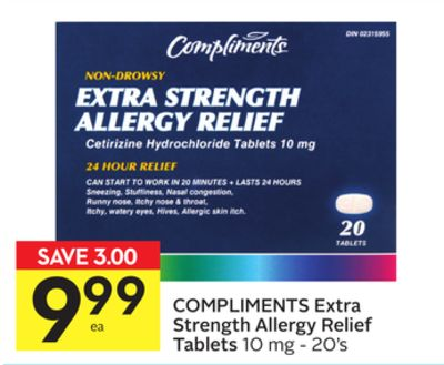 Compliments Extra Strength Allergy Relief Tablets