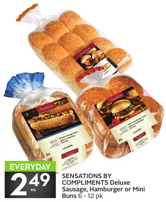 Sensations By Compliments Deluxe Sausage - Hamburger or Mini Buns 6