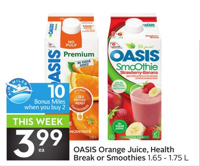 Oasis Orange Juice - Health Break or Smoothies - 10 Air Miles