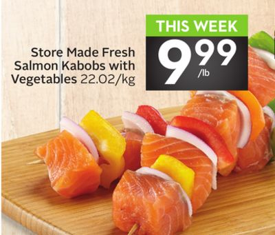 Store Made Fresh Salmon Kabobs With Vegetables