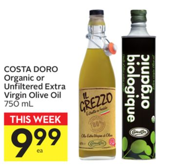 Costa Doro Organic or Unfiltered Extra Virgin Olive Oil
