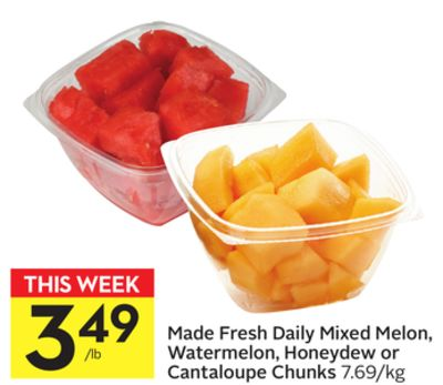 Made Fresh Daily Mixed Melon - Watermelon - Honeydew or Cantaloupe Chunks