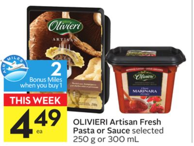 Olivieri Artisan Fresh Pasta or Sauce - 2 Air Miles