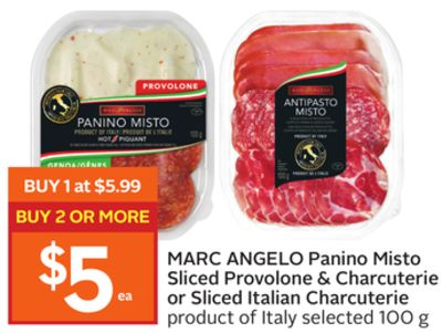 Marc Angelo Panino Misto Sliced Provolone & Charcuterie or Sliced Italian Charcuterie
