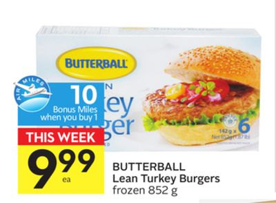 Butterball Lean Turkey Burgers - 10 Air Miles