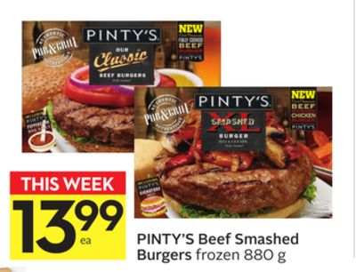 Pinty's Beef Smashed Burgers