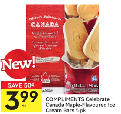 Compliments Celebrate Canada Maple-flavoured Ice Cream Bars
