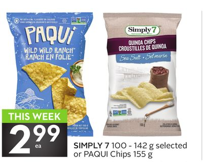 Simply 7 100 - 142 g Selected or Paqui Chips 155 g
