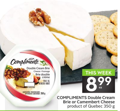 Compliments Double Cream Brie or Camembert Cheese