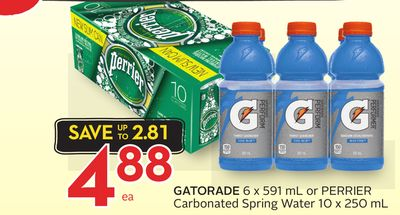 Gatorade 6 X 591 mL or Perrier Carbonated Spring Water 10 X 250 mL