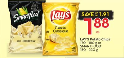 Lay's Potato Chips 170 - 180 g or Smartfood 150 - 220 g