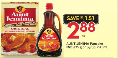 Aunt Jemima Pancake Mix 905 g or Syrup 750 mL