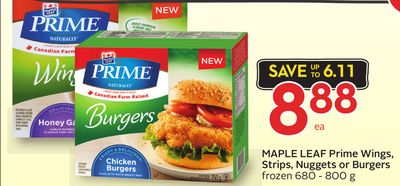 Maple Leaf Prime Wings - Strips - Nuggets or Burgers Frozen 680 - 800 g