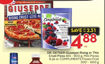 Dr. Oetker Giuseppe Rising or Thin Crust Pizza 465 - 900 g - Mini Pizzas 8 Pk or Compliments Frozen Fruit