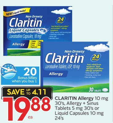 Claritin Allergy 10 Mg 30's - Allergy + Sinus Tablets 5 Mg 30's or Liquid Capsules 10 Mg 24's
